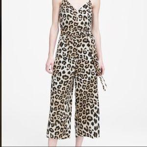 Banana Republic Jumpsuit Leopard Print Wide-Leg